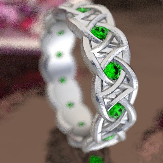 Celtic Emerald Wedding Ring With Dara Knot Design in Sterling Silver, Made in Your Size CR-1036