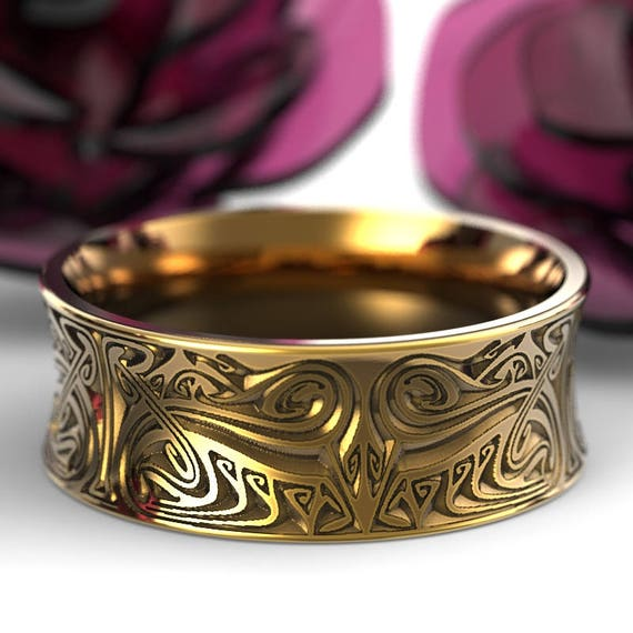 Gold Engraved Norse Wedding Ring With Dramatic Design in 10K 14K 18K or Platinum, Made in Your Size Cr-5088