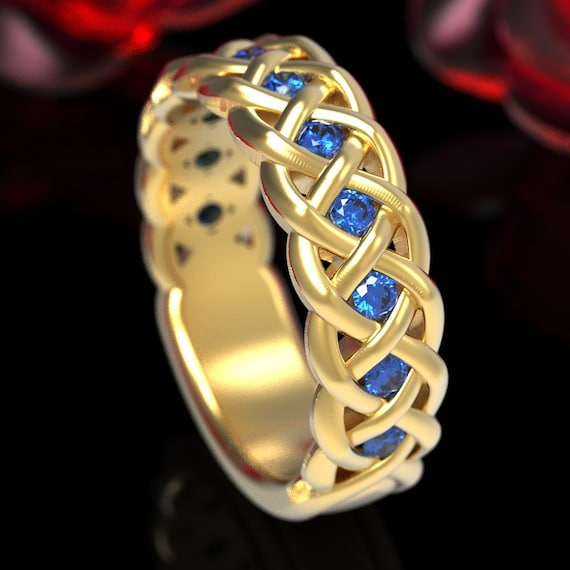 Celtic Wedding Ring with Blue Sapphires in 4 Cord Braided Knot in Sterling, 10K 14K 18K Gold or Platinum Made in Your Size CR-1008