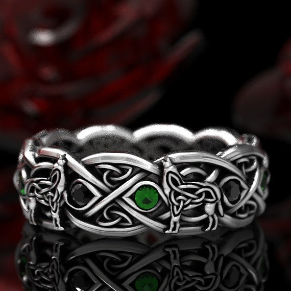 RESERVED FOR Lauren Sterling Silver Celtic Wolf Ring with Alternating Stones, Celtic Wolf Jewelry, Custom Ring 1267
