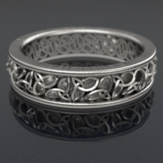 Celtic Wedding Ring, Trinity Knot Wedding Band, Celtic Knot Ring, Sterling Silver Wedding Ring, Made in Your Size CR-617