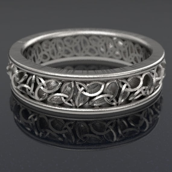 Celtic Wedding Ring With Cut-Through Trinity Knot Design in Sterling Silver, Made in Your Size CR-617