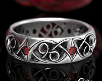 Sterling Silver + Ruby Wedding Ring, Ruby Wedding Ring, Silver Celtic Wedding Band, Celtic Wedding Ring, Infinity Wedding Ring, 1503
