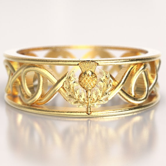 Gold Celtic Ring With Scottish Thistle and Cut Through Infinity Symbol Design in 10K 14K 18K or Platinum, Made in Your Size Cr-5015