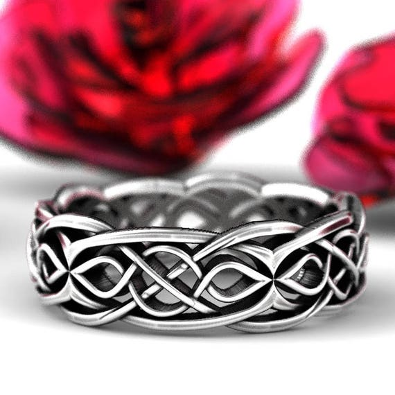 Celtic Wedding Ring With Partial Cut-Through Infinity Symbol Pattern & Quaternary Celtic Knots in Sterling Silver, Made in Your Size 1209