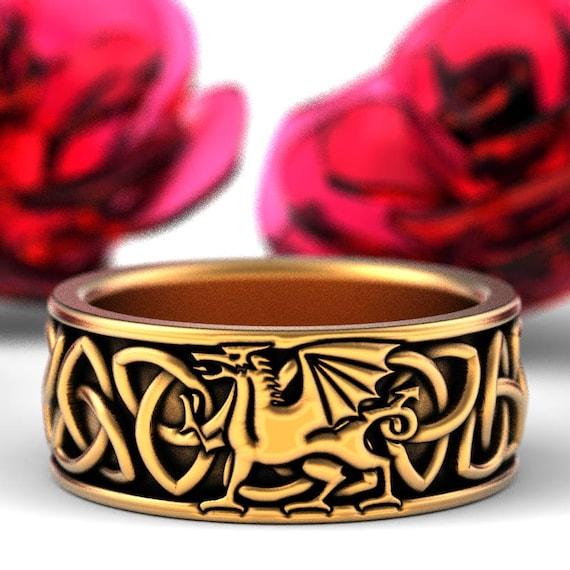 Welsh Dragon Ring Celtic Sterling Ring, Welsh Wedding Band, Mens Wedding Band, Dragon Jewelry, Celtic Knot Ring, Custom Size 1182