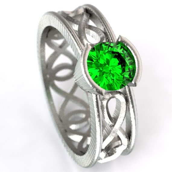 Celtic Emerald Ring With Infinity Symbol Design in Sterling Silver, 10K 14K 18K Gold, Palladium, or Platinum  Made in Your Size CR-1027