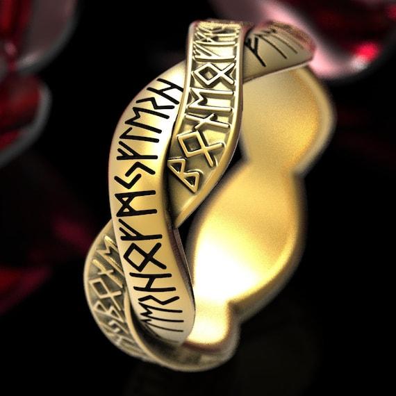 Rune Ring Nordic Band, Viking Rune Wedding Band, Magical Rune Wedding Ring, Norse Ring, Made in 10K 14K 18K Gold or Platinum 1320