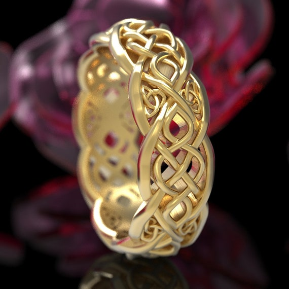 Gold Celtic Wedding Ring With Cut-Through Infinity Symbol Pattern & Trinity Knots in 10K 14K 18K or Platinum, Made in Your Size Cr-1052