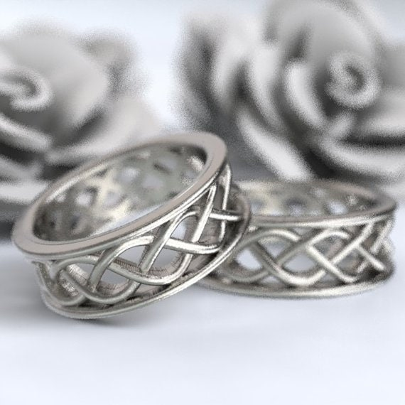 Celtic Wedding Ring Set With 3 Cord Braided Knotwork Encased in Rails Sterling, 10K 14K 18K Gold, Palladium or Platinum Made Your Size 271