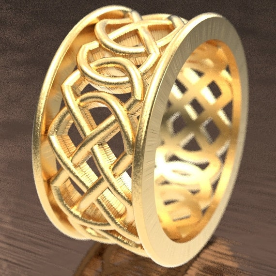 Celtic Wedding Ring With Murphy Infinity Knotwork Design in 10K 14K 18K Gold, Palladium or Platinum Made in Your Size CR-268