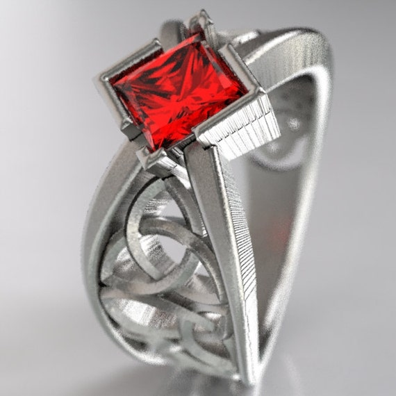 Celtic Wedding Ring With Square Princess Cut Ruby Trinity Knotwork Design  Sterling, 10K 14K 18K, Platinum or Palladium In Your Size CR-1025