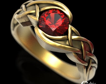 Unique Ruby Wedding Ring, Gold Ruby Ring, Ruby Engagement Ring, Solitaire Wedding Ring, Ruby Celtic Ring, Gold Celtic Engagement Ring, 1500