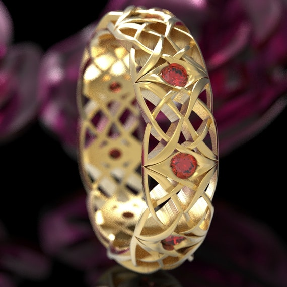 Celtic Eternity Band with Rubies, Celtic Ruby Wedding Ring, Bespoke Celtic Knot Ring, Gold with Rubies 10K 14K 18K or Platinum 1300