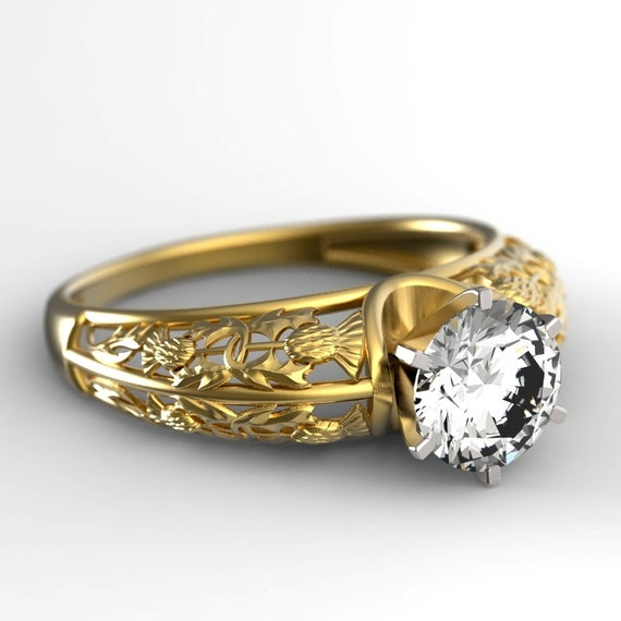 1ct Moissanite Thistle Filigree Engagement Ring, 10K 14K or 18K Gold or Platinum, Scottish Solitare, Floral Wedding, Thistle Wedding 6002