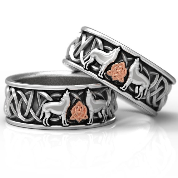 10k Gold and Sterling Silver Celtic Wolf Ring, Celtic Animal Ring, Wolf Jewelry, Norse Ring Custom Ring Design 1170