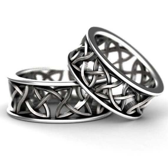 Celtic Wedding Band Set With Cut-Through Continuous Knotwork in Sterling, 10K 14K 18K Gold, Palladium or Platinum, Made in Your Size CR-26