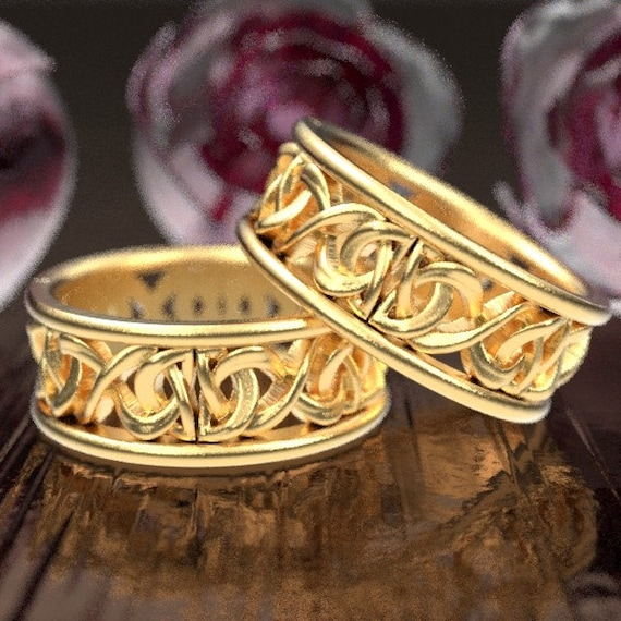 Gold Wedding Ring Set, His and Hers Wedding Rings With Celtic Knot, Celtic Wedding Bands His and Hers, 10K 14K or 18K Gold or Platinum 5008