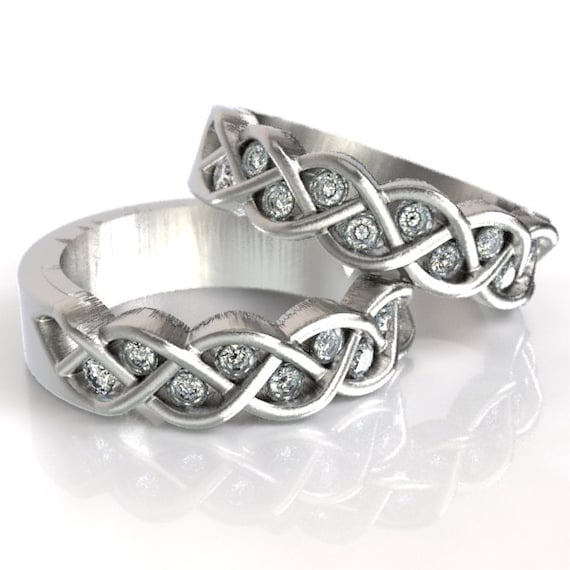 Celtic Wedding Ring Set Moissanite With Braided Knot Design in Sterling, 10K 14K 18K Gold, Palladium or Platinum, Made in Your Size CR-1005