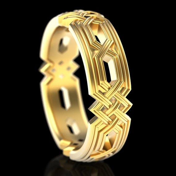 Braided Celtic Knot Ring, Unique Wedding Band, Celtic Eternity Ring in 10k 14k 18k Gold and Platinum  Made in Your Size 1324