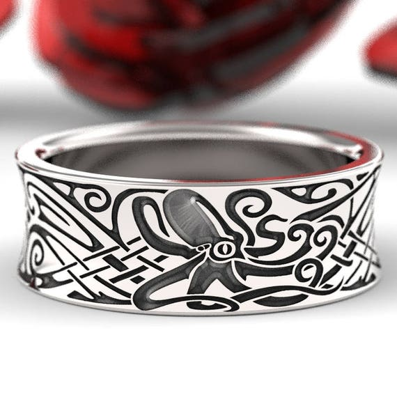RESERVED FOR Michelle Engraved Octopus Norse Wedding Ring in Sterling Silver, Octopus Ring, Octopus Jewelry, Made in Your Size CR-5100