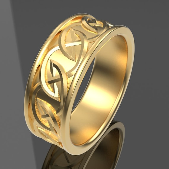 Celtic Wedding Ring with Interwoven Tribal Knotwork Design Made in 10K 14K 18K Gold or Platinum, Made in Your Size Cr-516