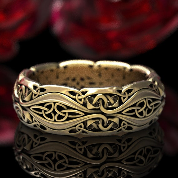 Gold Mushroom Wedding Ring, Unique Nature Inspired Trinity Knot Ring, Magic Mushroom Gold Wedding Ring 10K 14K 18K or Platinum CR1379