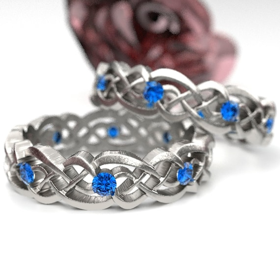 Eternity Celtic Infinity Band Set with Blue Sapphires in Sterling Silver, 10K 14K 18K Gold, Palladium, or Platinum Made in your size CR-1044