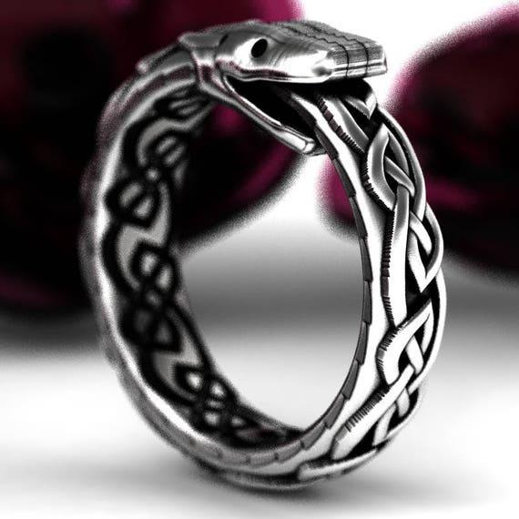 Sterling Silver Celtic Snake Ring, Celtic Ouroboros Ring, Sterling Silver Snake Ring, Ouroborous, Uroboros Ring, Oroboros Snake Custom Size