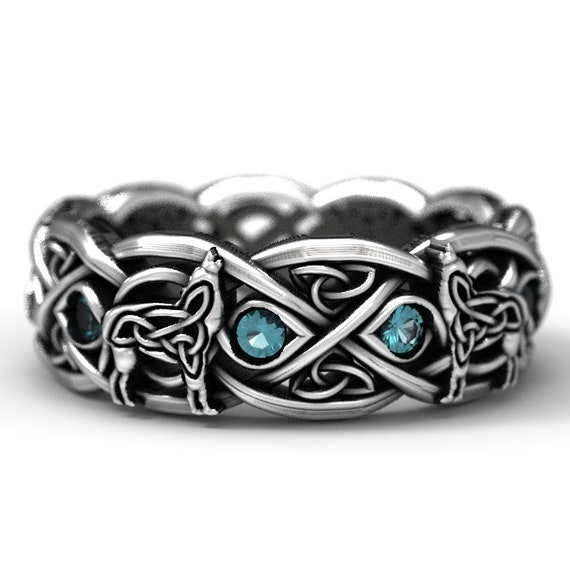 Sterling Silver Celtic Wolf Ring with Topaz, Eternity Band Celtic Wolf Jewelry, Custom Ring Design 1267