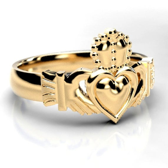 Claddagh Ring in Gold, Irish Claddagh Ring, Womens Claddagh Ring, Celtic Claddagh Jewelry, 10K 14K 18K Gold Palladium or Platinum 1150