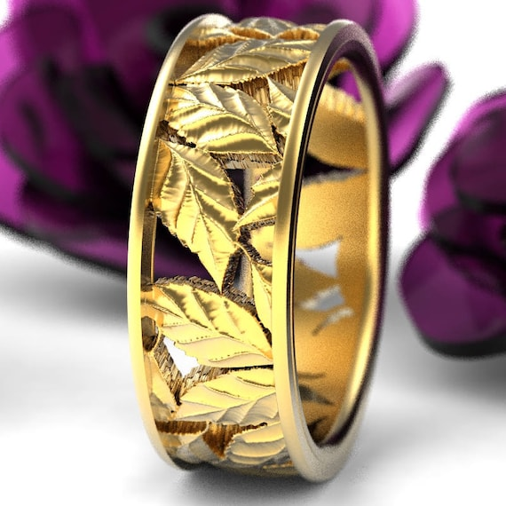Leaf Ring Wedding Band Custom Made With Cherry Tree Leaves in 10K 14K 18K Gold or Platinum Made in Your Size 5103