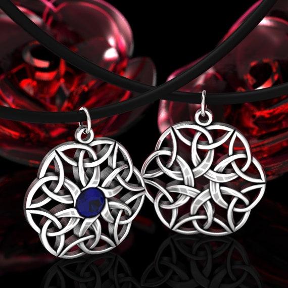 Celtic Sterling Silver Gemstone, Celtic Knot Pendant, Woven Knot Necklace in Sterling Silver, Sterling Celtic Trinity Knot Pendant 72