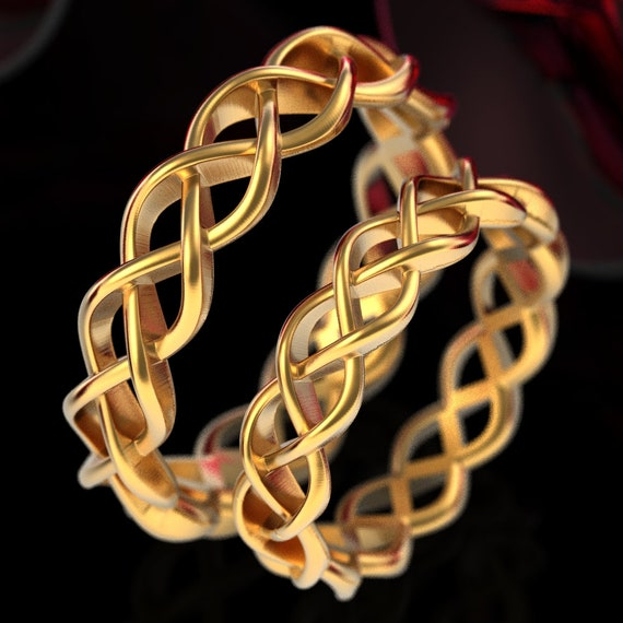 Celtic Wedding Ring Set With Braided Cut-Through Knotwork Design in 10K 14K 18K Gold or Platinum, Made in Your Size CR-221