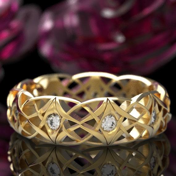 Celtic Moissanite Wedding Ring, Celtic Eternity Band with Moissanites, Celtic Moissanite Knot Ring, Gold 10K, 14K, 18K or Platinum 1300