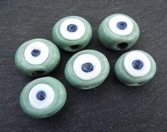 Cube Glass Beads Artisan Handmade Glass Beads Evil Eye Beads Bohemian Jewelry Traditional Turkish Glass Beads Green Glass Beads