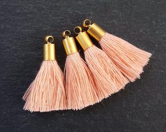 Mini Neon Orange Soft Thread Tassels Earring Bracelet Tassel Fringe Turkish Findings Antique Matte Silver Plated Cap 4pc NEW CAP 26mm