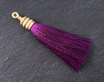 fuchsia decorative long bead tassel plum tassel necklace tassel pendant glittery N25 Magenta beaded tassel gold cap tassel