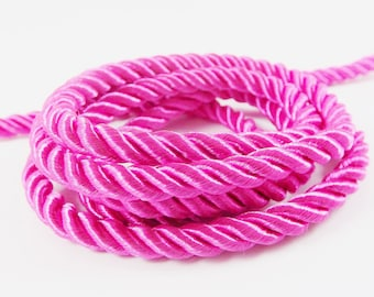 3mm 1 yard  1 meter S 40 052 Silicon Bracelet Cords Hot Pink Fuschia Silicon Cord