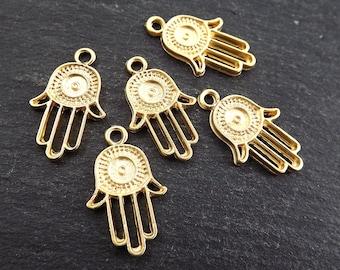 5 Round Evil Eye Hand of Fatima Hamsa Charms - 22k Matte Gold Plated