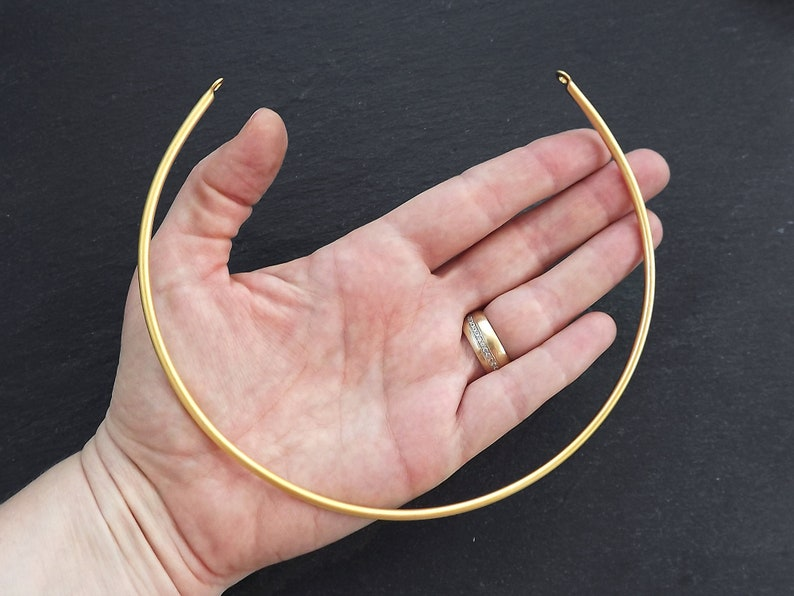 Wire Collar Wire Cuff Choker Thick Choker Necklace Blank Non Tarnish 22k Matte Gold Plated Gold Wire Choker with Loops 14.5 1pc