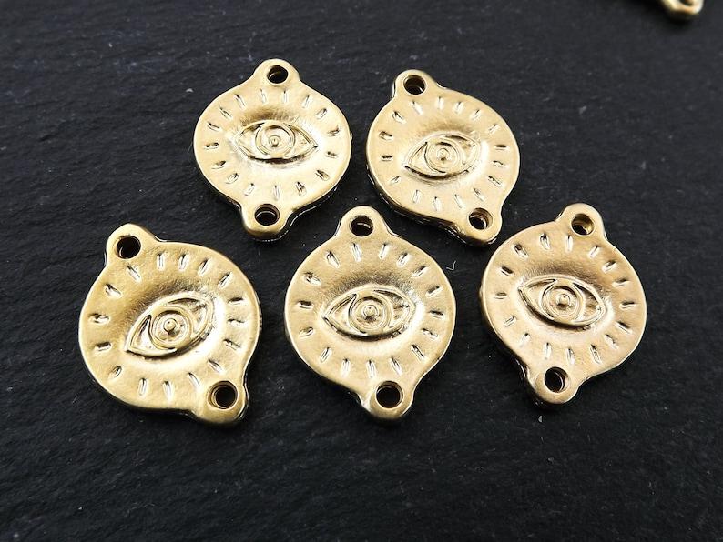 All Seeing Eye Pendants 22k Matte Gold Plated Greek Eye Gold Evil Eye Charm Bead Connectors Engraved Turkish Eye