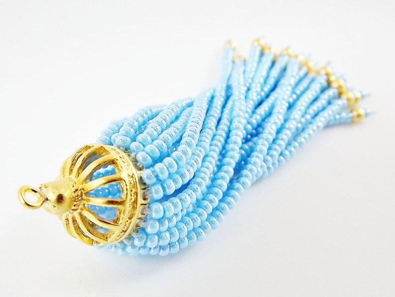 1PC Long Sky Blue Beaded Tassel 22k Matte Gold Plated Brass