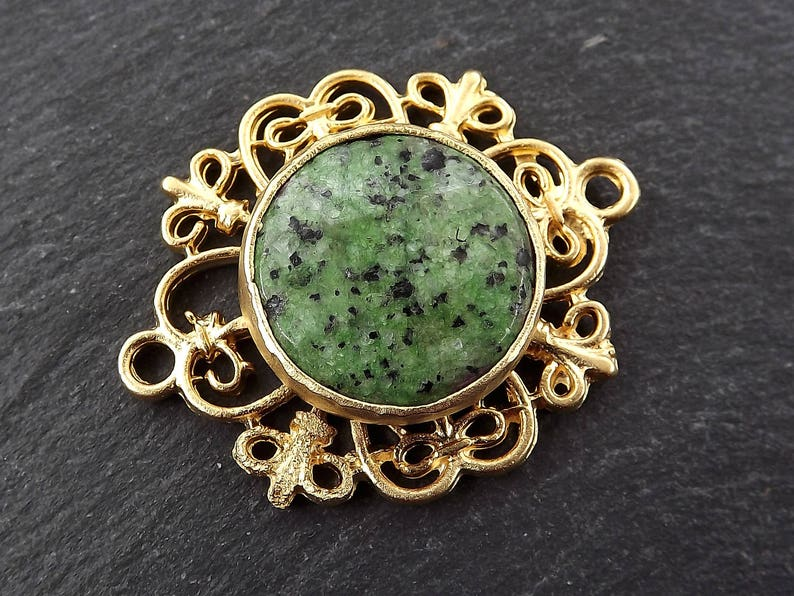 Curly Filigree Connector Green Mottled Jasper Stone 1PC Jewelry Making Supplies Findings 22k Matte Gold Plated