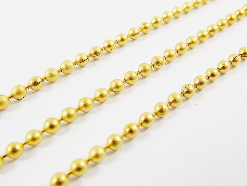 b926a0fd5832f 2mm Ball Chain - 22k Matte Gold Plated - 1 Meter or 3.3 Feet