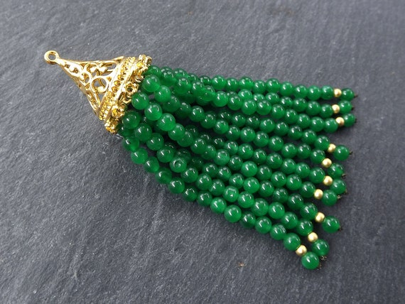 Long Emerald Green Tassel, Green Beaded Tassel, Jade Stone, Gemstone Tassel, Tassel Pendant, Filigree, Boho, 22k Matte Gold Plated 1pc by Etsy