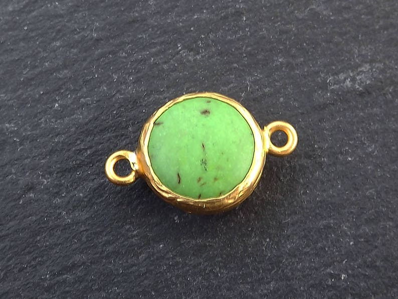 1pc 22k Matte Gold plated Bezel Small 14mm Green Dyed Turquoise Connector
