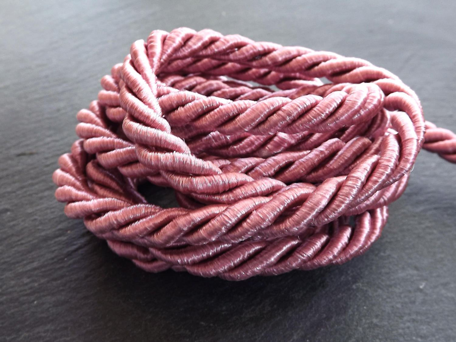 Crushed Rose Pink 7mm Twisted Rayon Satin Rope Silk Braid Cord | Etsy