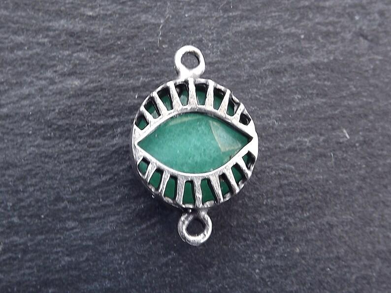 Necklace Pendant Evil Eye Pendant Evil Eye Charm Lucky Antique Silver Plated Protective Aqua Evil Eye Jade Stone Connector Charm