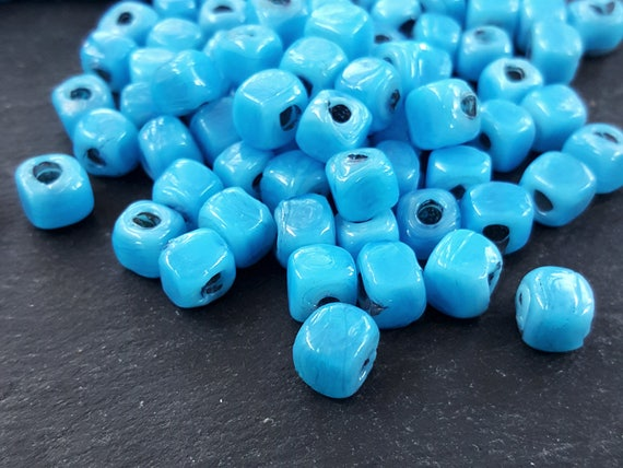 Bulk   30 Sky Blue Glass Beads Rustic Cube Square Bead Traditional Turkish Artisan Handmade Beading   7mm   Turkish Glass Beads by Etsy